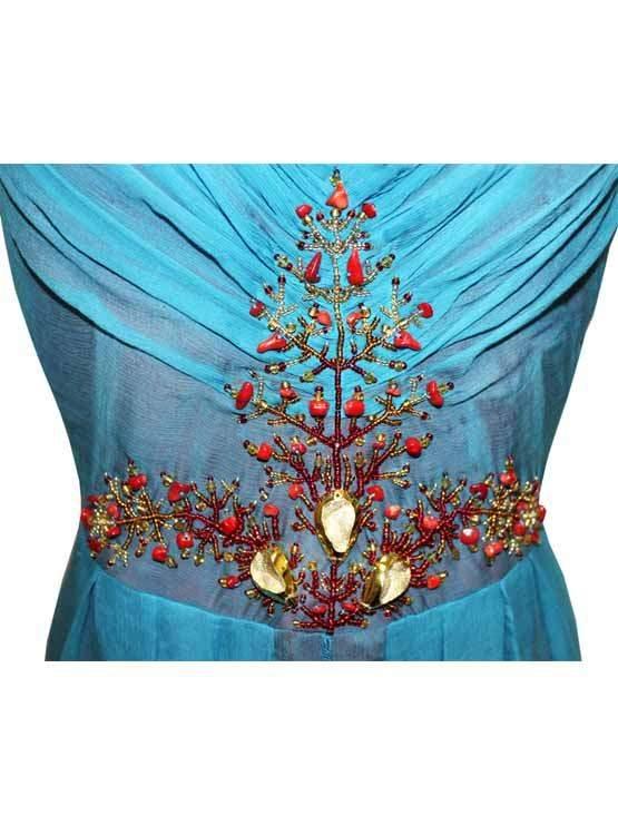 Платье из шифона с вышивкой